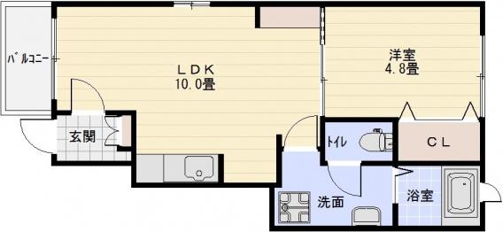 ラ・エルヴィータ(柏原市・法善寺駅) 1LDK