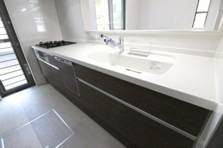 食器洗浄乾燥機は環境にも奥様の手にも優しい設備です。勝手口もある便利なキッチンスペースです。