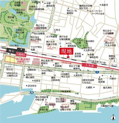 【地図】JR明石駅 徒歩10分 デザイナーハウス新築戸建