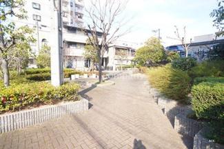「アプローチ」緑が豊富なマンション敷地内です。