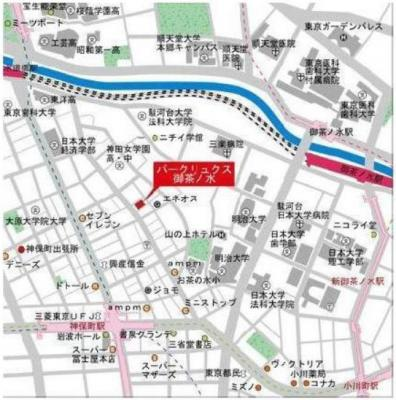 【地図】パークリュクス御茶ノ水