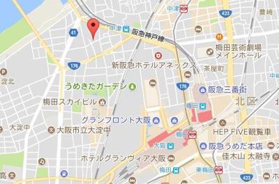 【地図】ザ・クイーン新梅田