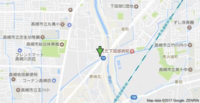 【地図】アカシヤハイツ スモッティー阪急高槻店