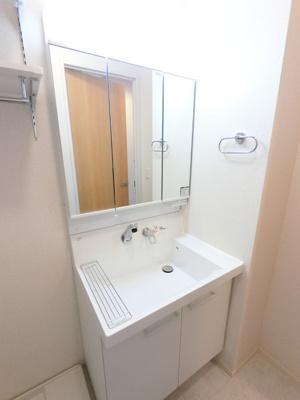 シャワーヘッド付き三面鏡洗面台です
