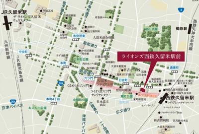 【地図】ライオンズ西鉄久留米駅前