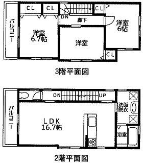 2・3階間取り図です