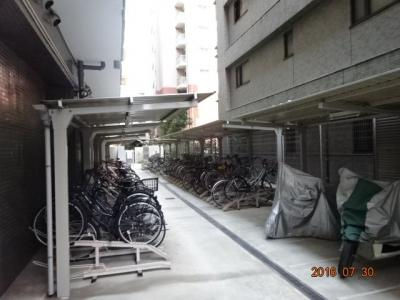 マンションの東側にある駐輪場(屋根付き)とバイク置場