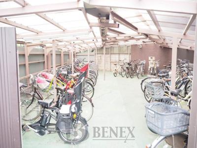 牛込ハイムの自転車置場です