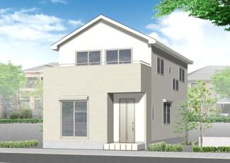 3号棟 完成予想図 1号棟と同じく48坪以上の敷地にリビング階段。 3畳の畳コーナー・勝手口も。