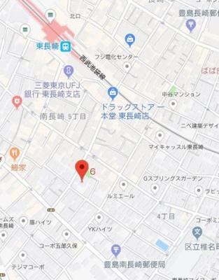 【地図】エクサム落合南長崎
