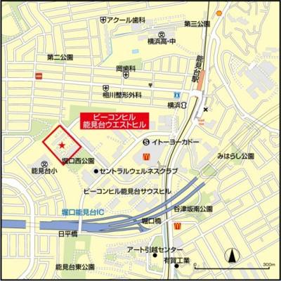【地図】ビーコヒル能見台ウエストヒル1号棟