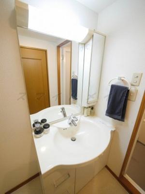 朝の身支度に便利な独立洗面台・ニ面鏡です。