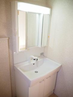 大きな鏡にシャワー付きの洗面台で朝の準備もはかどりますね♪