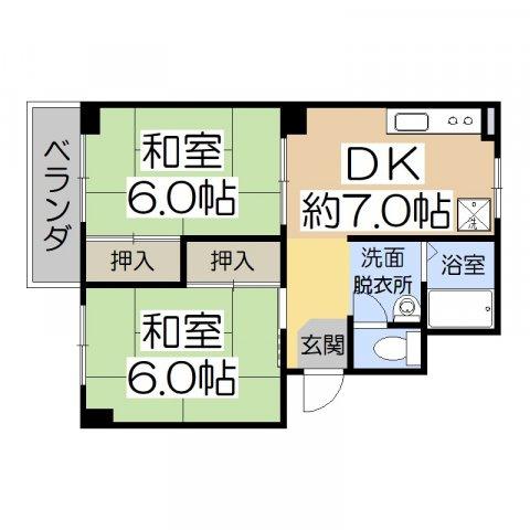 ハイツ藤澤 2DK 約44.62㎡