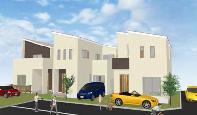 イメージパースになります。6区画とも2階建てなので素敵な街並みになりそうな予感がしますね♪お家の個性を出してみてくださいね♪