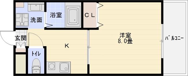 アッフェル(柏原市本郷・JR柏原駅) 1K