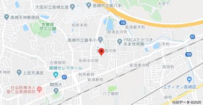 【地図】ユニハイム高槻 (株)Roots