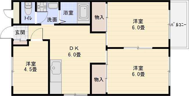 コーポ柏原 河内国分駅 大阪教育大前駅 3DK オール洋室