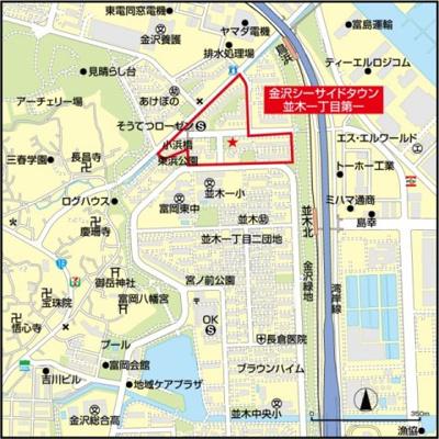 【地図】金沢シーサイドタウン並木一丁目第一2-3号棟