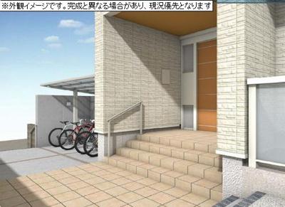 ※パース図※屋根付きの駐輪場で雨が降っても大切な自転車が濡れなくてすみますね♪駅から自転車もおすすめです!