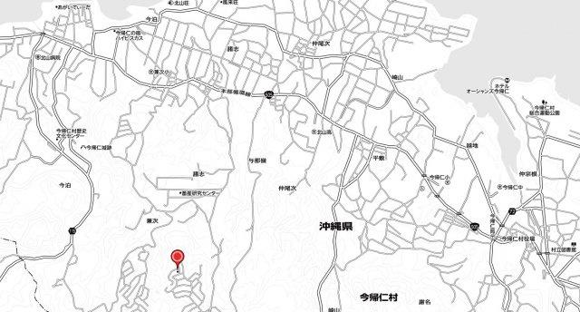 【地図】今帰仁村字兼次 土地