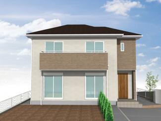 グランファミーロもねの里 新築一戸建て 物井駅 南庭を広く取り、カースペースも2台分を確保した明るい現地外観♪ 接道間口も広く、家の外観を引き立てます♪