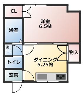 藤弥マンションは広々間取りの1DKです。
