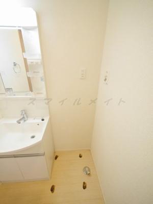 洗面所内にある室内洗濯機置き場です。