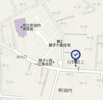 【地図】大館市釈迦内字台野道上9-1・売地