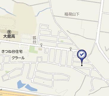 【地図】大館市柄沢字狐台2-53・売地