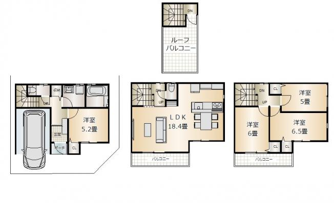 4LDK 土地面積:62.44平米(公簿) 建物面積:~100平米 南向き