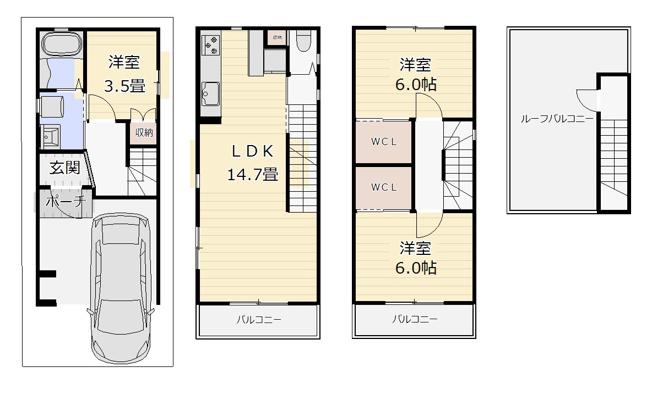 戸建 3LDK 土地面積:43.81平米(公簿)建物面積:89.67平米 北向き