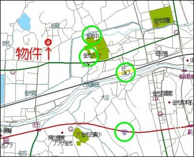 【地図】浅口市金光町占見 中古戸建て