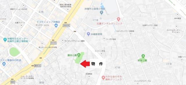 【地図】沖縄市園田1丁目