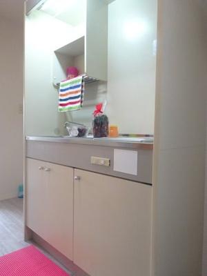 玄関入ってすぐにある、2帖のキッチンスペースです♪場所を取るお鍋やお皿もすっきり収納できますね!