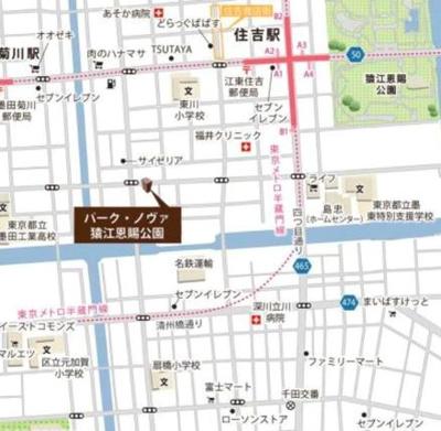 【地図】パーク・ノヴァ猿江恩賜公園