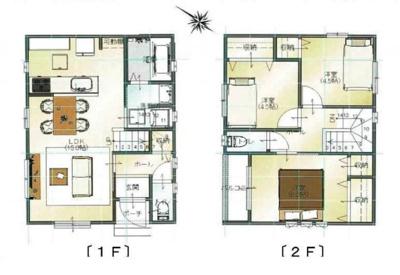 建築プラン例です♪建築条件なしなのでお好きなハウスメーカー様で建てていただく事もできます♪