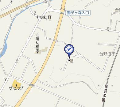 【地図】大館市釈迦内字館・売地
