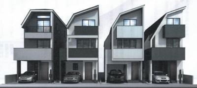 【外観パース】府中市緑町1丁目 新築戸建て (全4棟)B号棟