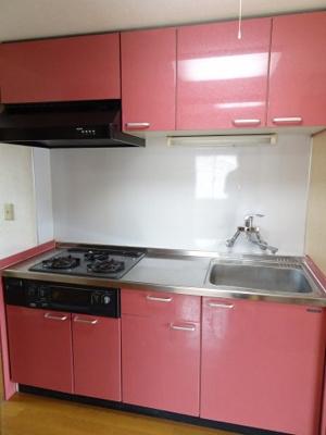 根岸武蔵野マンション キッチンはガスコンロ3口のワイド型システムキッチンで料理も楽しめます。