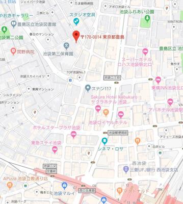 【地図】スカイコートパレス池袋