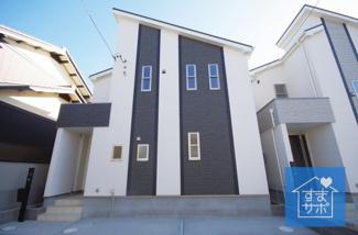 C号棟 現地(2019年2月)撮影 堂々完成しました!即入居可能♪ 土地面積124.83m2(37.76坪)。 駐車並列3台可能。