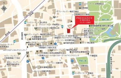 【地図】プレサンス梅田