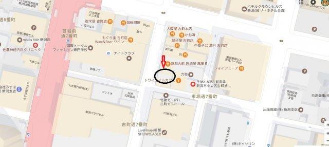 【地図】古町通7店舗