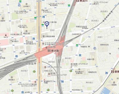 【地図】クリスタルグランツ新大阪