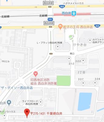【地図】白井市根 中古住宅