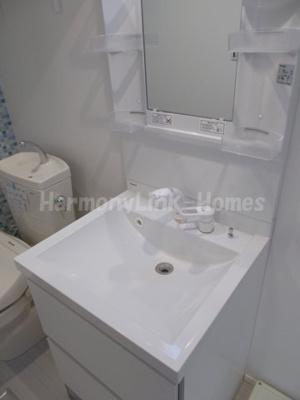 ハーモニーテラス大山金井町の独立洗面台、小物を置くことができて便利です☆