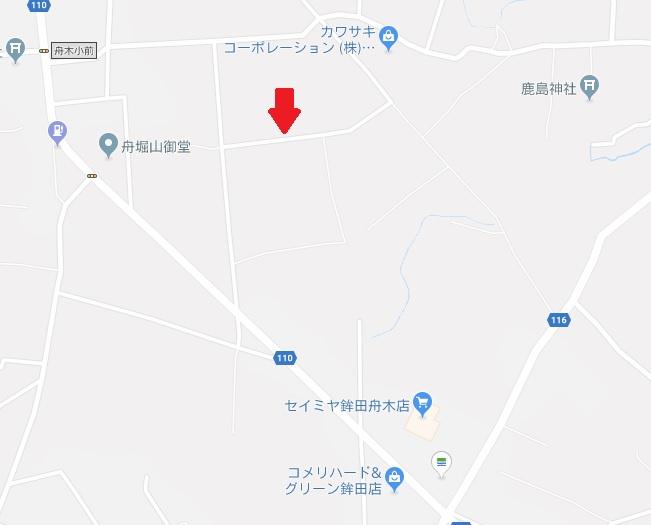 【地図】鉾田市舟木土地
