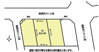 【土地図】鴻巣市北新宿の売地 B区画 (全3区画)【No.10304】