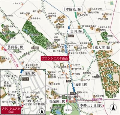 【地図】ブランシエスタ白山